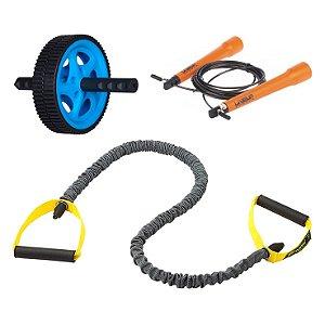 Kit Extensor de Resistência + Pula Corda + Roda de Exercícios Roppe/LiveUp