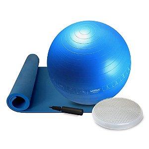 Kit Fitness Exercício Bola Suíça 65cm Disco Equilíbrio e Tapete