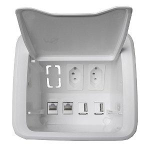 Caixa Elétrica de Embutir para Móveis com 2 Tomadas e Conectores QTmov