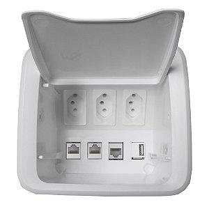 Kit Caixa Elétrica Embutir Móveis com 3 Tomadas e Conectores Qtmov