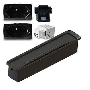 Kit Caixa Embutir Slim para Móveis com 2 Tomadas e Conectores