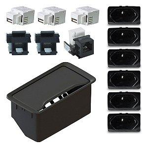 Kit Caixa Elétrica Embutir para Móveis 6 Tomadas e Conectores