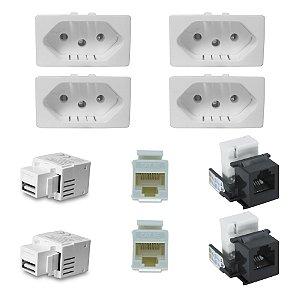 Kit 4 Tomadas 10A com Conectores RJ45 RJ11 E USB Charger