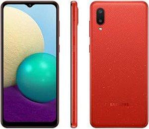 """Smartph Samsung Galaxy A02 32GB 4G 6.5"""" Câm. Dupla Dual Sim Red"""