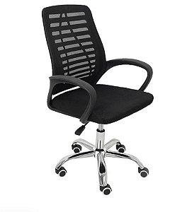 Cadeira Escritorio Trevalla Preta Estofado Do Mesh