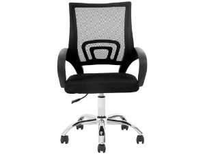 Cadeira Escritorio Giratoria Wave Encosto Em Tela preta/preta
