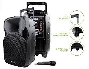 Caixa Som Amplificadora Alça 150W Rms Trolley Multilaser SP200