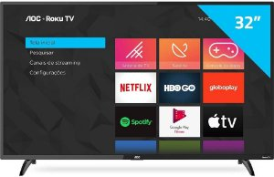 "Smart TV 32"" AOC LED HD 32S5195/78 ROKU HDMI USB Wi-Fi"
