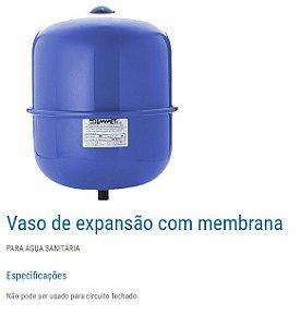 "VASO DE EXPANSÃO 8 L ROSCA 3/4"" POLEGADA CIRCUITO ABERTO EMMETI"