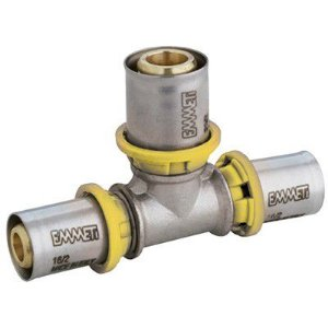 Tê Redução Para Gás  26 x 16 x 26 mm  Prensar Emmeti