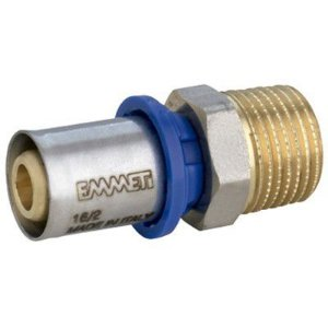 "Conector Macho para Água 26mm X 1"" Polegada  Prensar Emmeti"