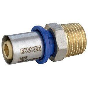 "Conector Macho para Água 16mm X 1/2"" Polegada  Prensar Emmeti"