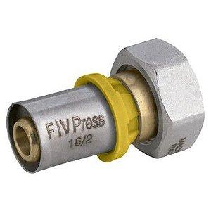 Conector  Fêmea Móvel  para Gás 16mm X 1/2 - Prensar Emmeti
