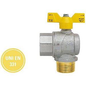 """Válvula Esfera  M/F Angular Borboleta Alumínio Gás 3/4"""" Polegada Futurgás - Emmeti"""