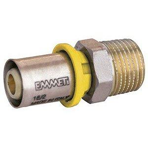 "Conector Macho para Gás 16 mm X 1/2"" Polegada Prensar Emmeti"