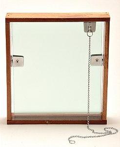 Janela Basculante Jateado 50x50 Vidro Verde  c/ Marco de Madeira Mader Glass