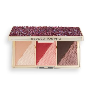 Revolution PRO Crystal Luxe Face Palette Berry Flush (deep cranberry blush w/ complementing highlighter & bronzer)