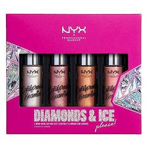 NYX COSMETICS DIAMONDS & ICE, PLEASE SHIMMER BODY OIL 4 iluminadores líquidos de 13,76ml cada
