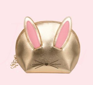 too faced COOL NOT CRUEL BUNNY MAKEUP BAG GOLD