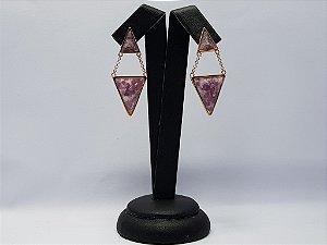 Brinco Duplo Triângulo Turquesa 70681
