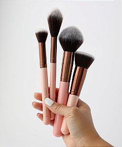 luxie powder contour set rose gold 4 pincéis