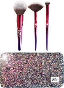 IT Cosmetics Your Rockstar Brushes! Limited Edition 3 Pc Brush Set + Glitter Clutch