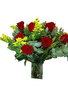 Vasos com  Rosas Vermelhas