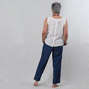 Calça  Plus Size Capri de Tencel Índigo