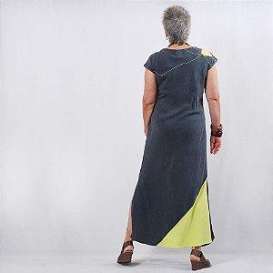 Vestido Plus Size de Tencel Verde-Limão Grafite
