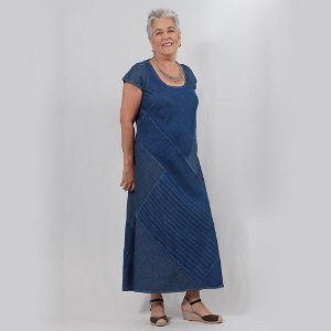 Vestido Plus Size de Tencel Patchwork Índigo