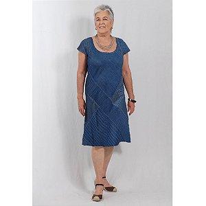 Vestido Midi Plus Size de Tencel Patchwork Índigo
