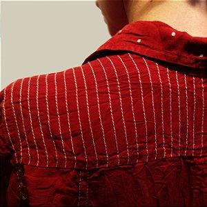 Camisa Plus Size de Tencel Pesponto Branco Terra Cota