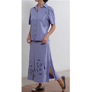Conjunto de Saia Plus Size de Tencel Violeta