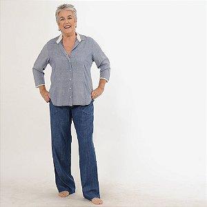 Camisa  Plus Size de Viscose Estampadinha Azul e Branca