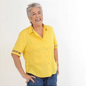 Camisa Plus Size de Linho Puro Amarela Palito