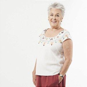 Blusa Plus Size de Linho Frida  Pérola