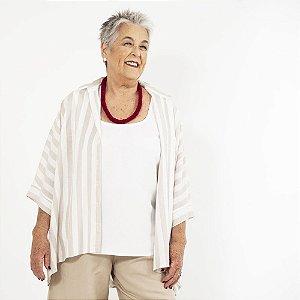 Blusa Mullet Plus Size de Linho Biarritz Aveia