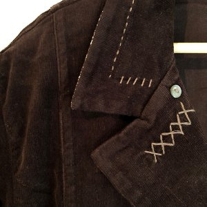 Conjunto de casaco Plus Size de Veludo Cotelê Marrom