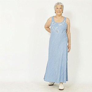 Vestido Plus Size de Tencel Indigo Bordado