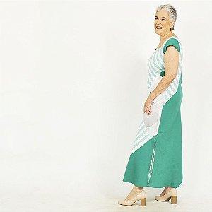 Vestido Plus Size de Linho Patchwork Listra Jade