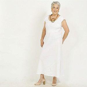 Vestido Plus Size de Linho Branco Bordado Lesis