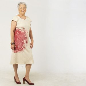 Vestido Plus Size de Linho Midi Aveia Aquarela Vinho