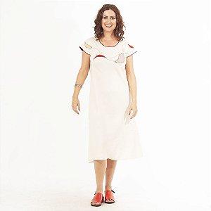 Vestido Plus Size de Linho Midi Aveia Bordado Decote