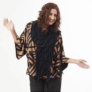 Blusa T Plus Size de Linho Estampada Geométrico Cobre