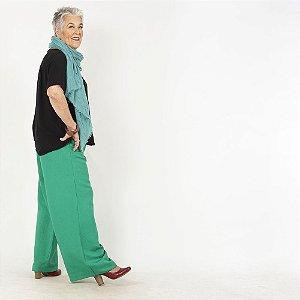Calça Pantalona Plus Size de Linho Esmeralda . Pré-Venda
