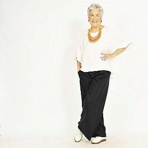 Calça Pantalona Plus Size de Linho Preta . Pré-Venda