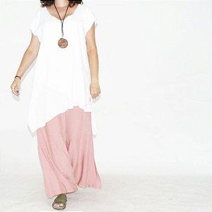 Calça Pantalona Barra Ampla Viscolinho Rosa