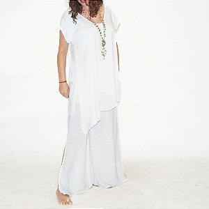 Calça Pantalona Barra Ampla Viscolinho Branco
