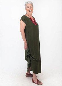 Vestido Amarração Viscolinho Oliva