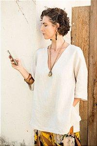 Blusa Sicília Decote V de Linho Puro Natural . Pré-Venda